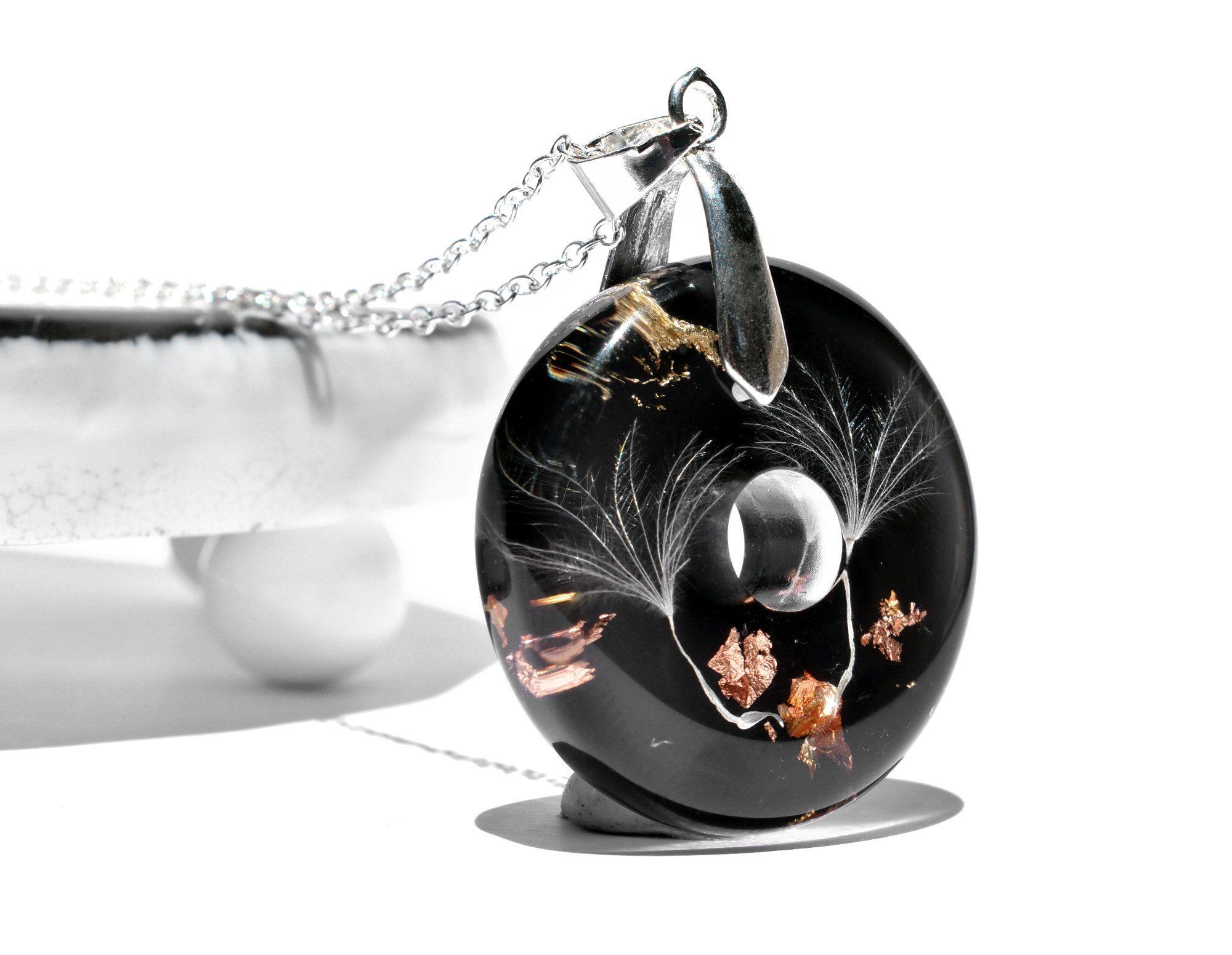 Dandelion necklace dandelion resin pendant pressed