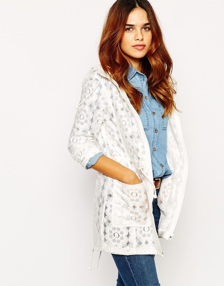 Image 1 of Warehouse Crochet Lace Pac-A-Mac | Winter Coats Edit ...
