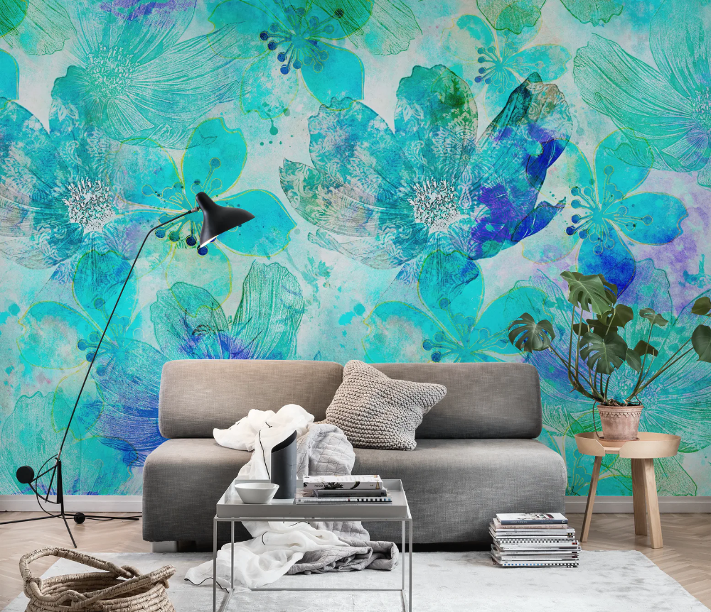 Blue Teal Abstract Flowrs Wallpaper in 2020 Wall murals
