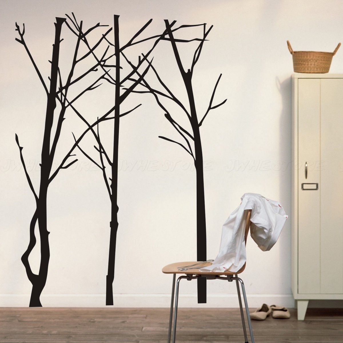 Simple Minimalist Black Birch Tree Silhouette Wall Decals Wall ... for Wall Sticker Tree Silhouette  35fsj