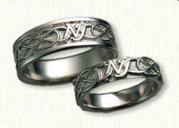 Custom Platinum Initial NJ w/Infinity Knot Band - Available