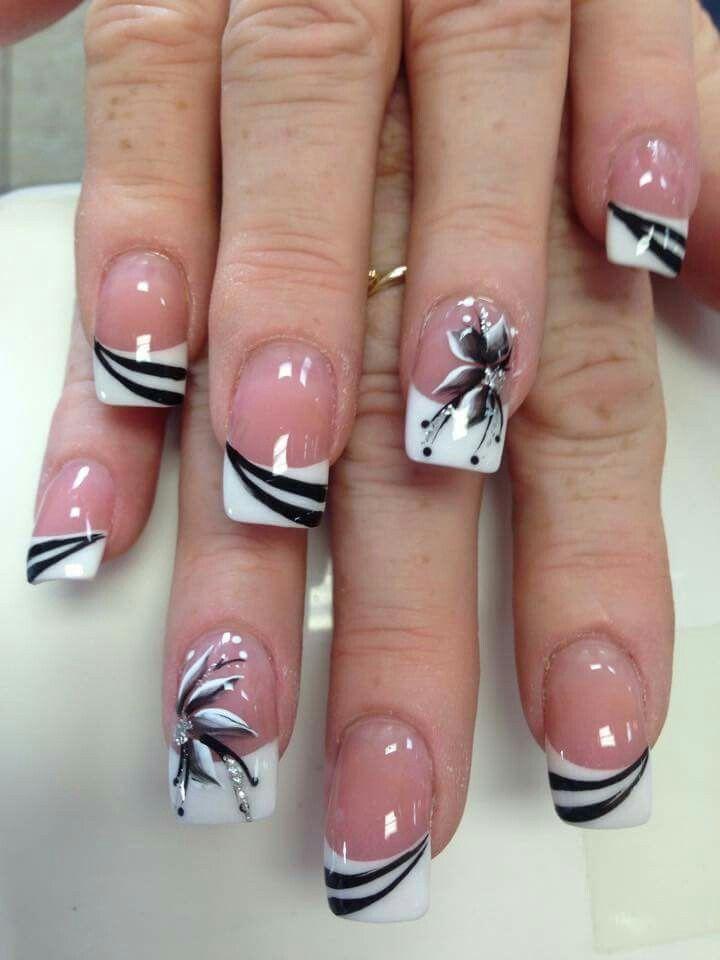 Blanca Flores Nails Pinterest Uña Decoradas Uña Acrilicas And