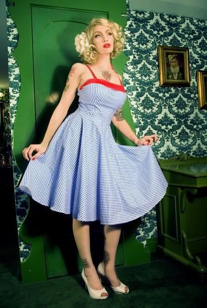 VTG 50S 60S STYLE PINUP COUTURE BLUE GINGHAM RED STRAP NETTI DRESS M