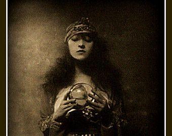 Crystal Ball, Fortune Teller Fridge Magnet vintage image, dark and ...