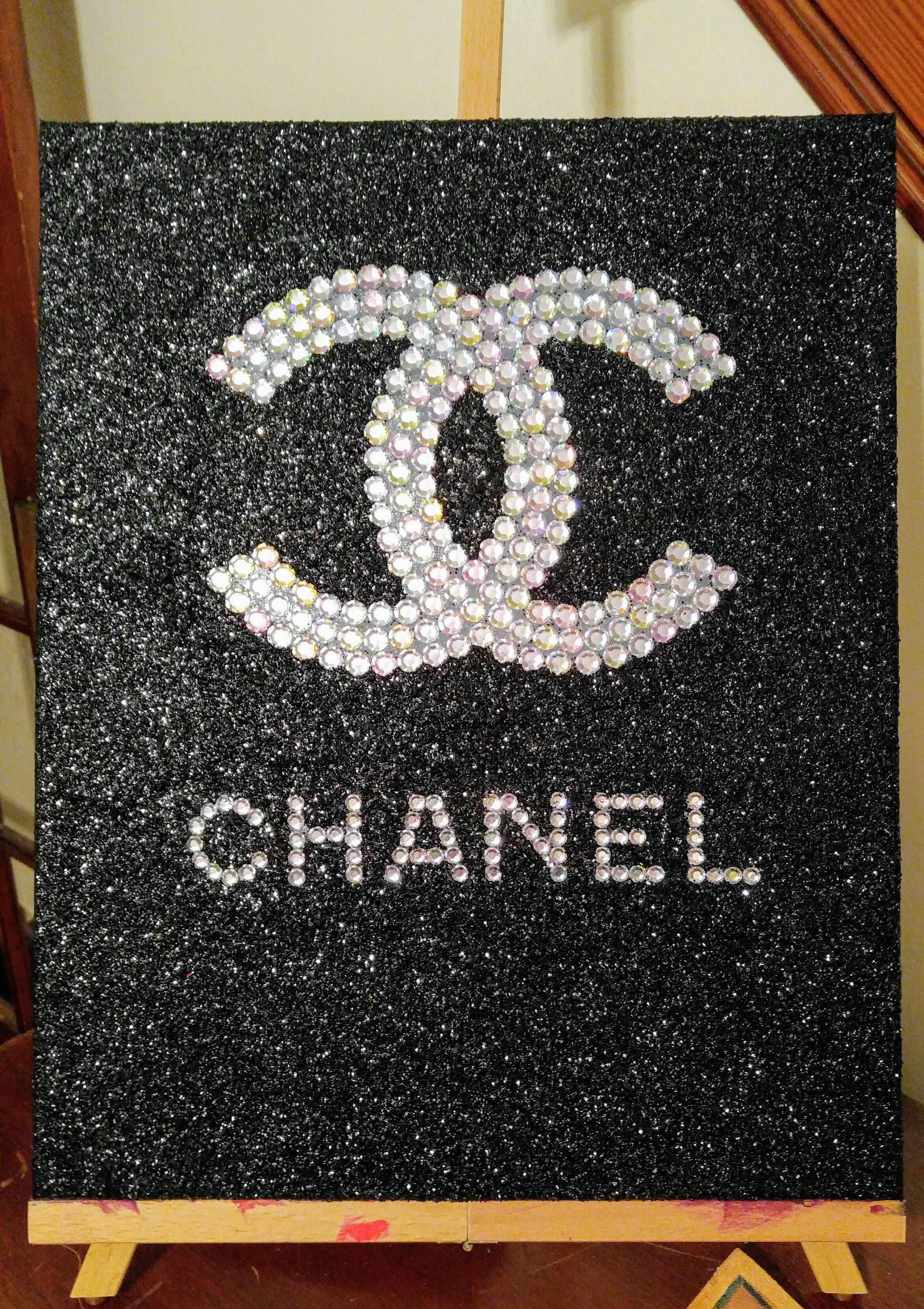 Inspired Chanel Rhinestone With Black Glitter Stretched Canvas Wall Art By Thecanvascreationco On Ets Chanel Decor Stretched Canvas Wall Art Glitter Background