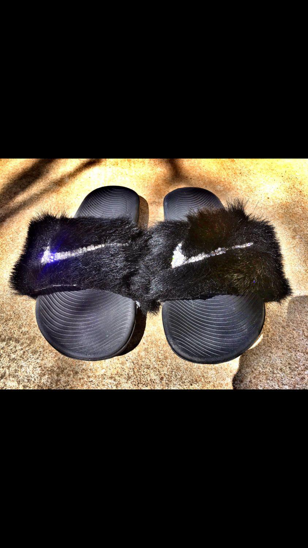 bf39a3da9 Custom Nike Fur Slides by TaisKreationz on Etsy