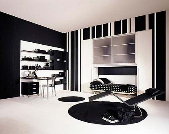 Room  Black,White and red bedroom themes ...