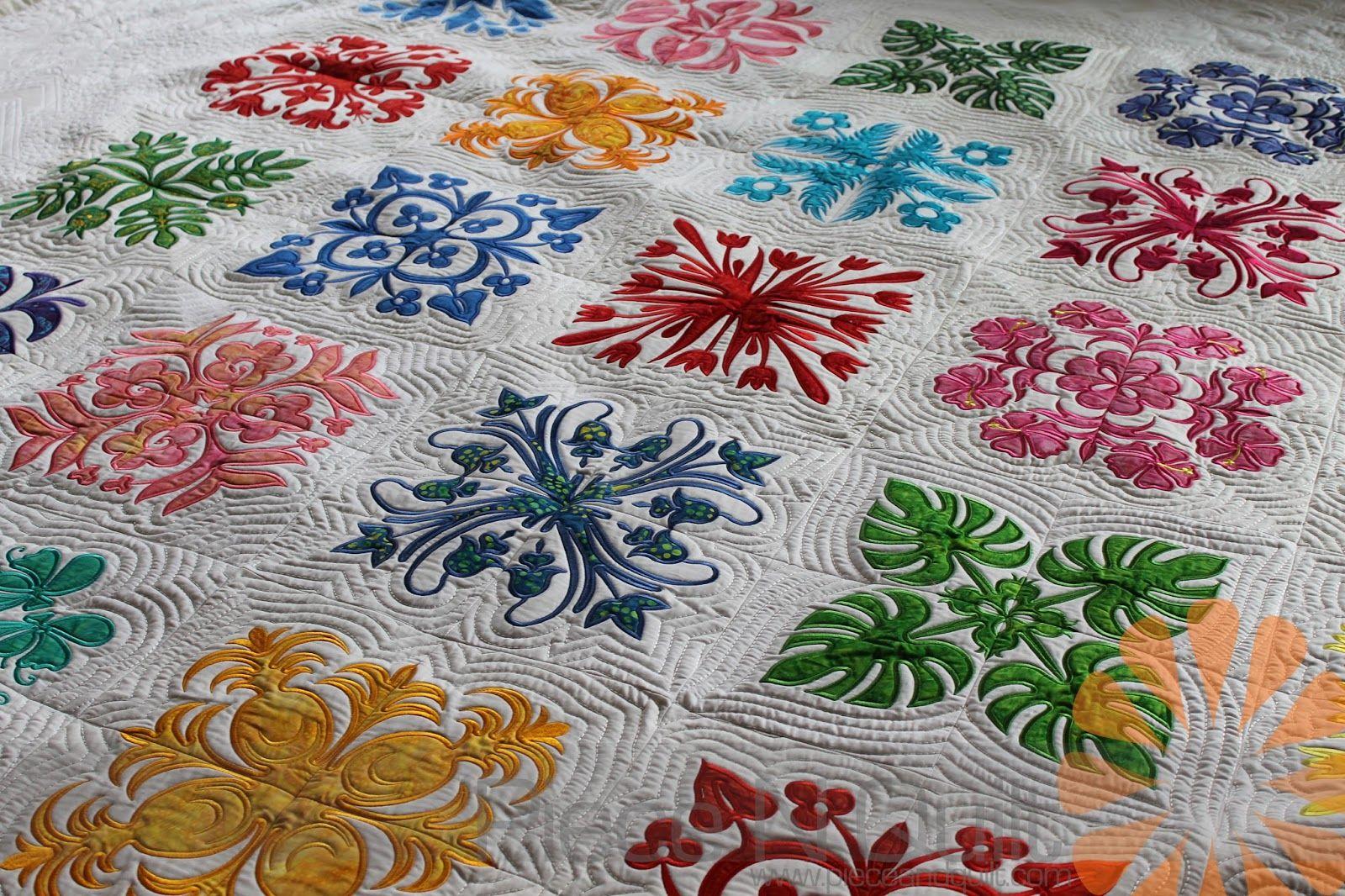 Piece n quilt: hawaiian quilt custom machine quilting by natalia