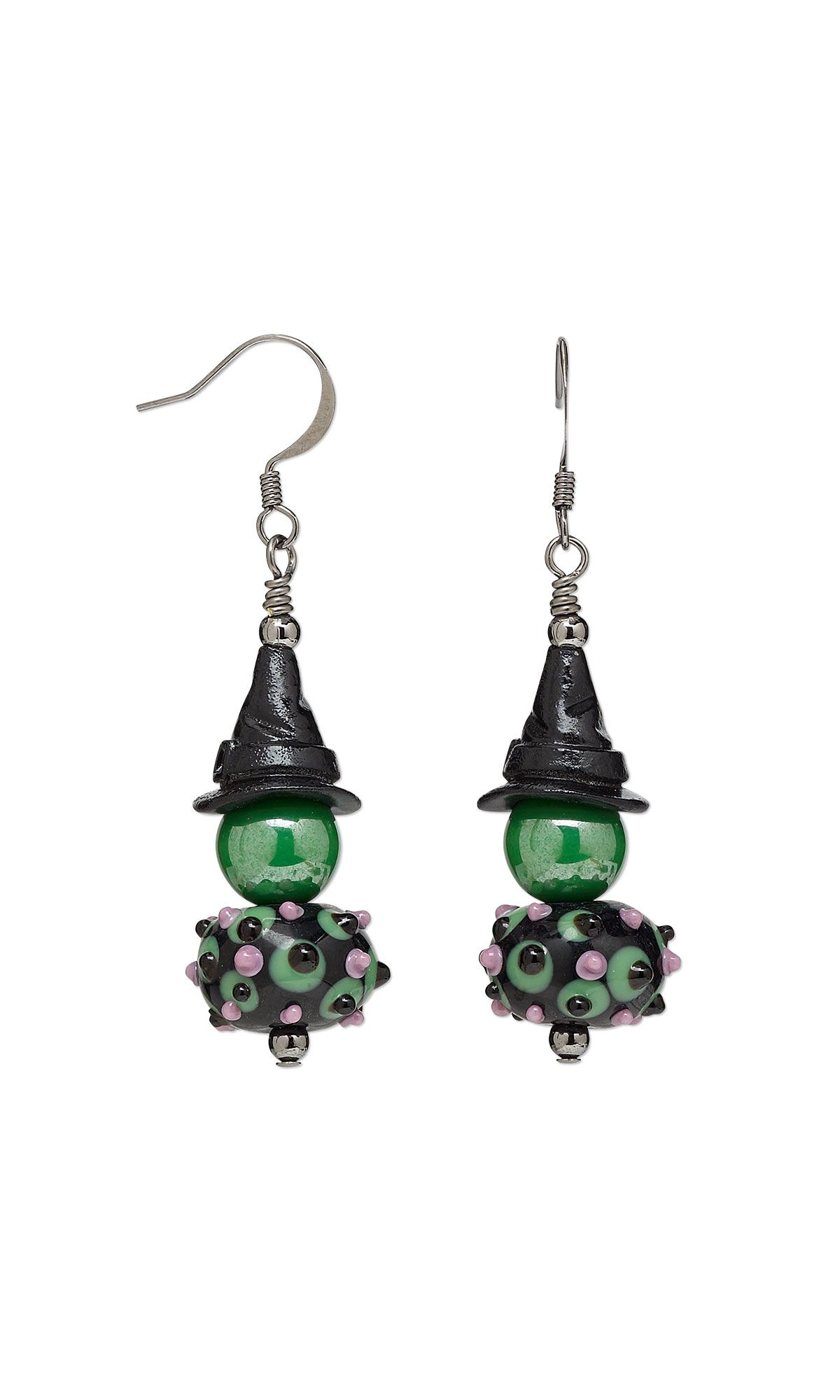 jewelry design earrings with lampworked glass beads enamel and