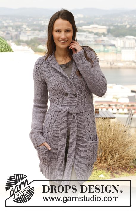 Knitted DROPS jacket with cables, lace pattern and band collar in ...