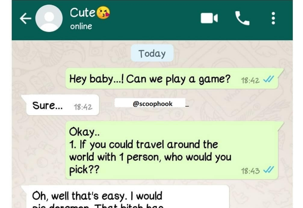 Hey babe can we play a game Funny whats app chat Funny