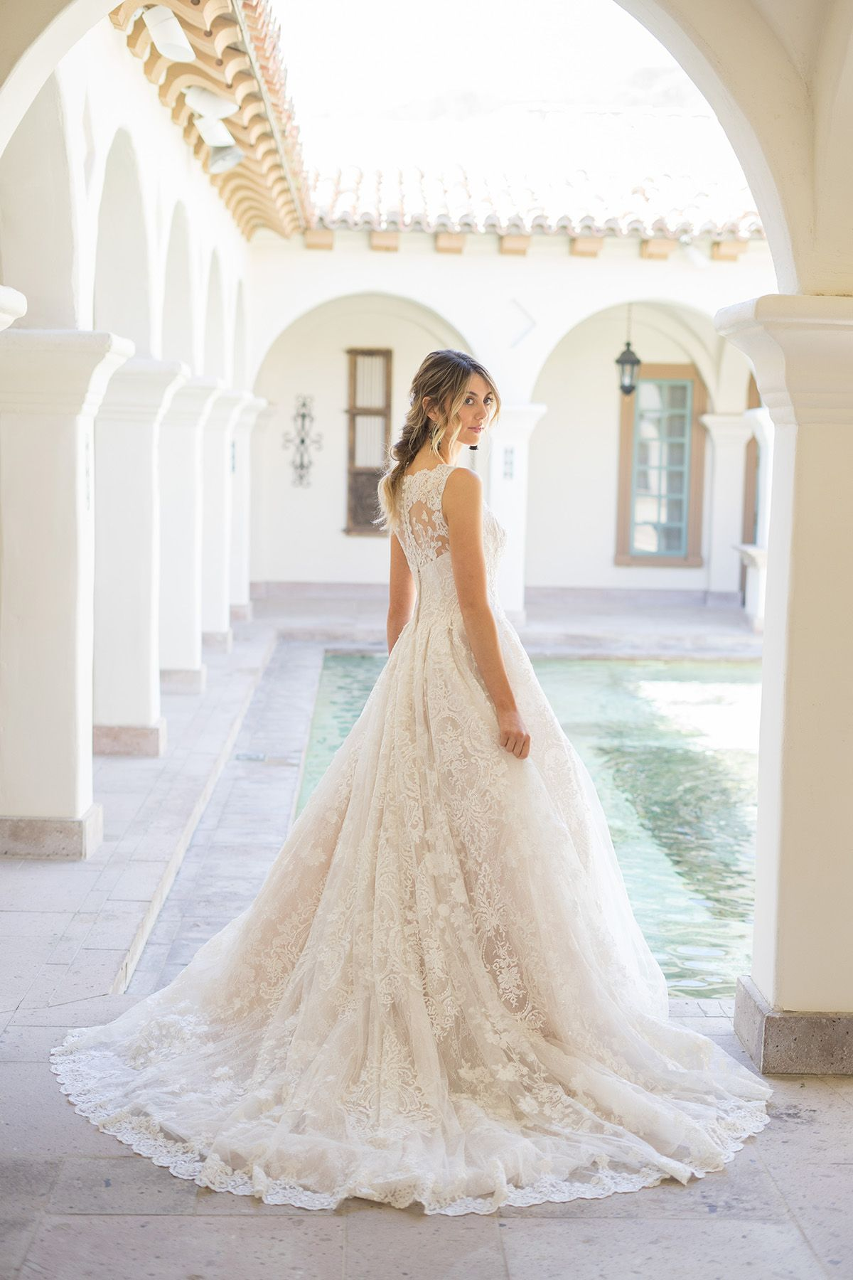 Oleg Cassini Beaded Lace Wedding Dress With Pleated Skirt