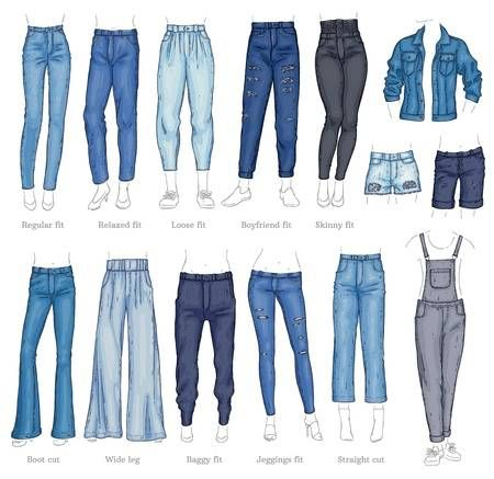 Vector denim female pants, shorts and jacket sketch icon set...