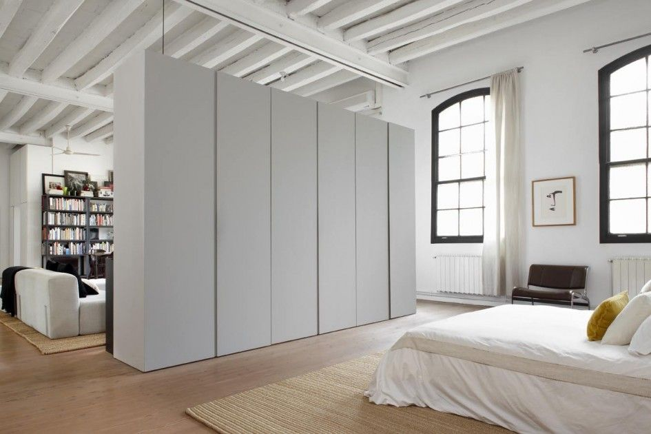 Architecture Wardrobe Wall Divider Between Living Room And Bedroom Loft Apartment All White Interior Decorating Ideas Plus Laminate Floorin