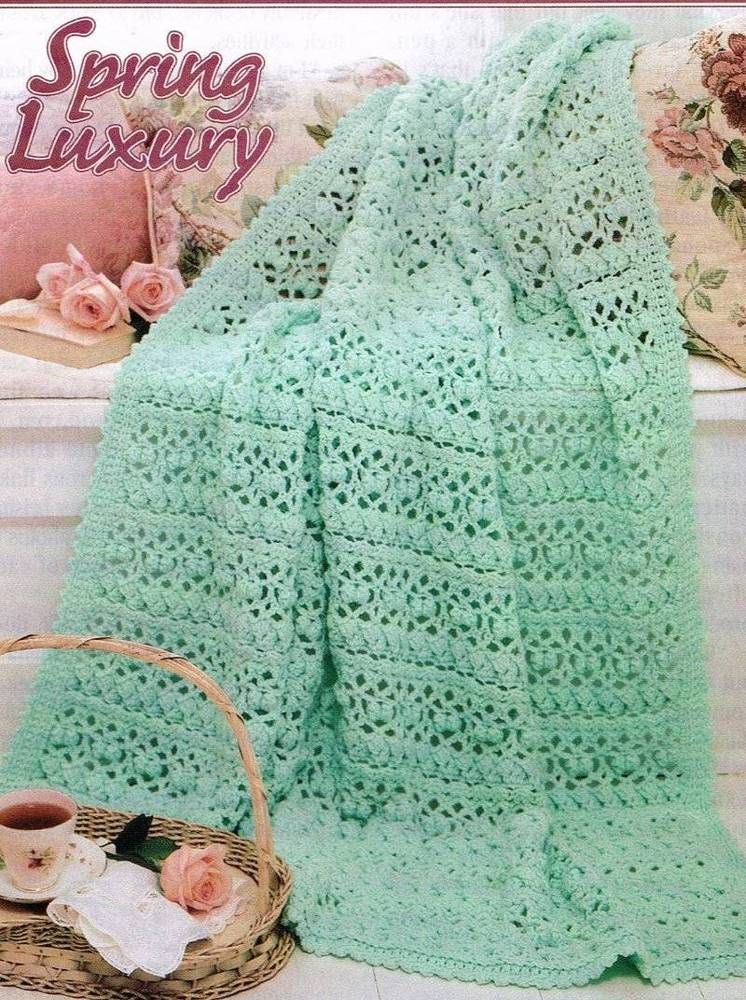 Lacy Afghan Crochet Pattern Blanket Throw Instructions Afghan