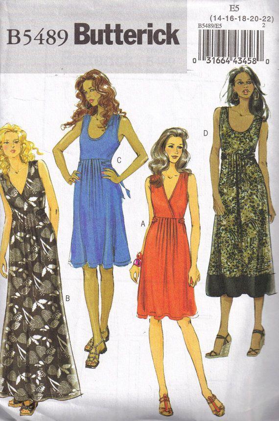 Sundress Maxi Dress Sewing Pattern Butterick 5489 Plus Size 14, 16 ...