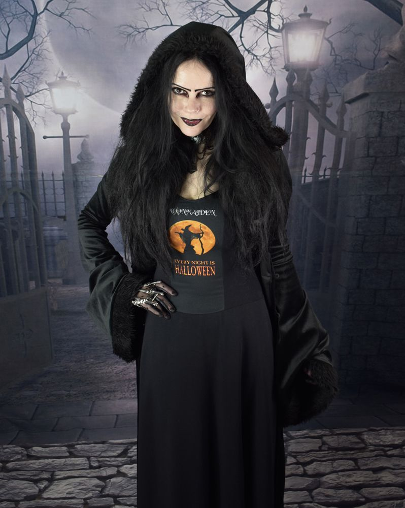 Every night is halloween dress long cottong lycra steampunk goth