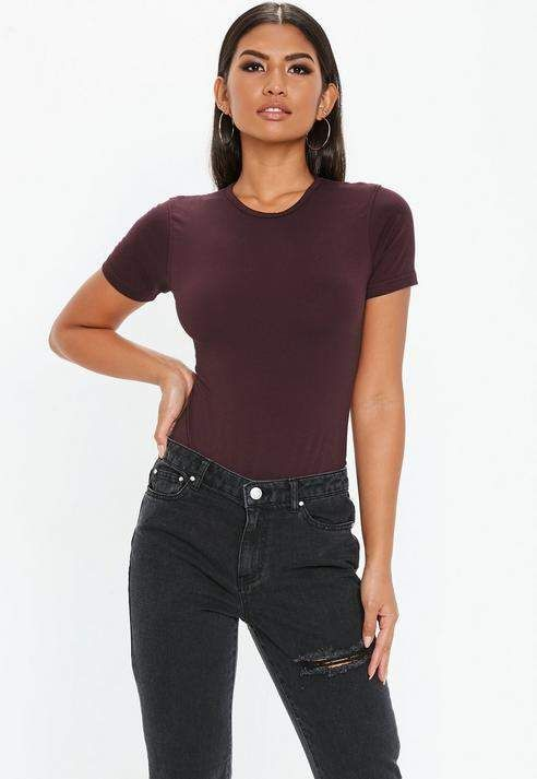 05534b215d Missguided Purple Crew Neck Cap Sleeve Bodysuit