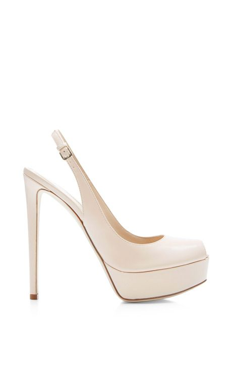 Shop Midtown Polished-Leather Platform Sandals by Sergio Rossi Now Available on Moda Operandi