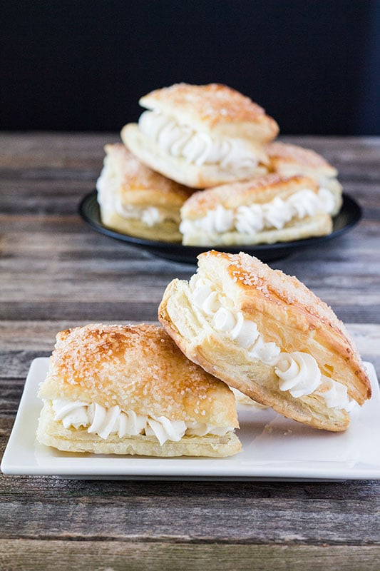 Lazy Cream Horns - NO BAKING TUBES! All the cream horn flavor without all the work! Puff pastry filled with cream horn filling. #recipes #frozenpuffpastry