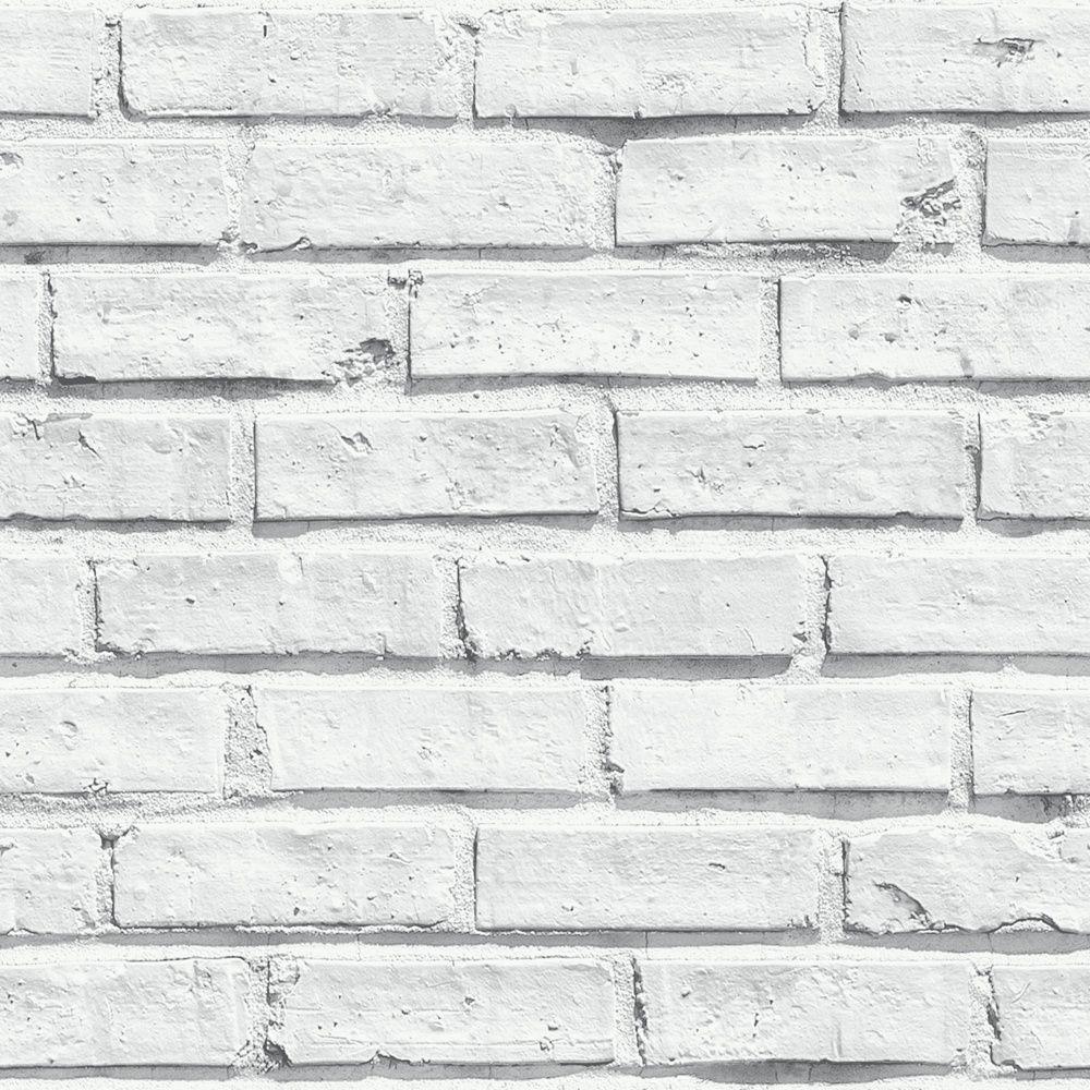 VIP White Brick Wall Photographic Stone Effect Wallpaper 623004