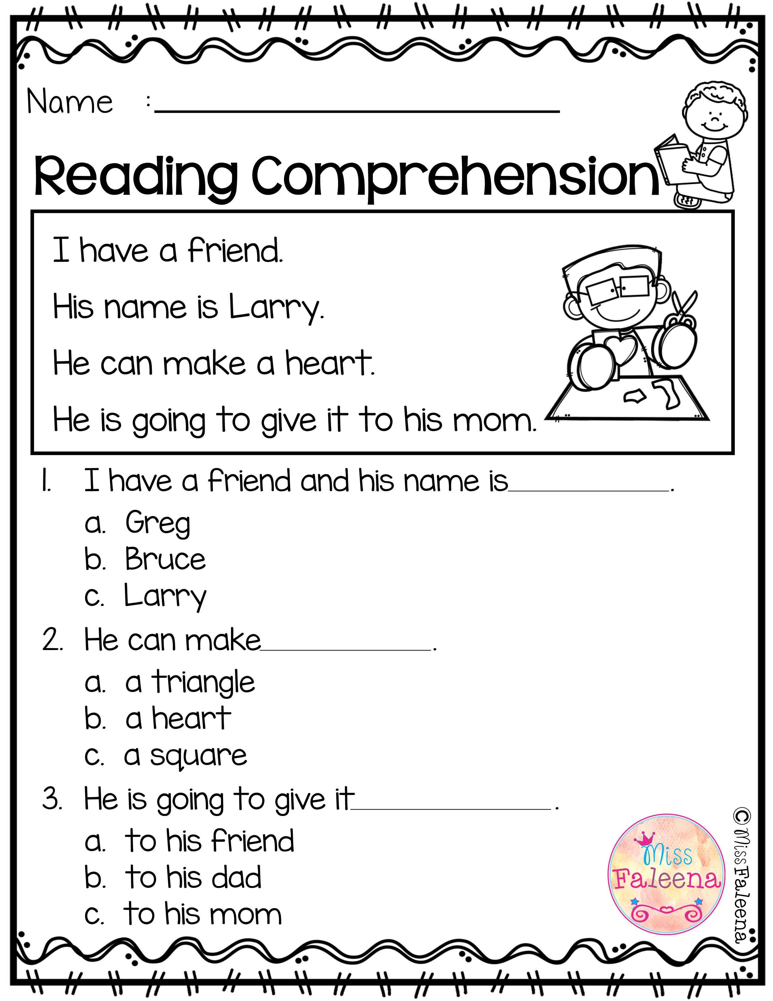 Free Reading Comprehension With Images