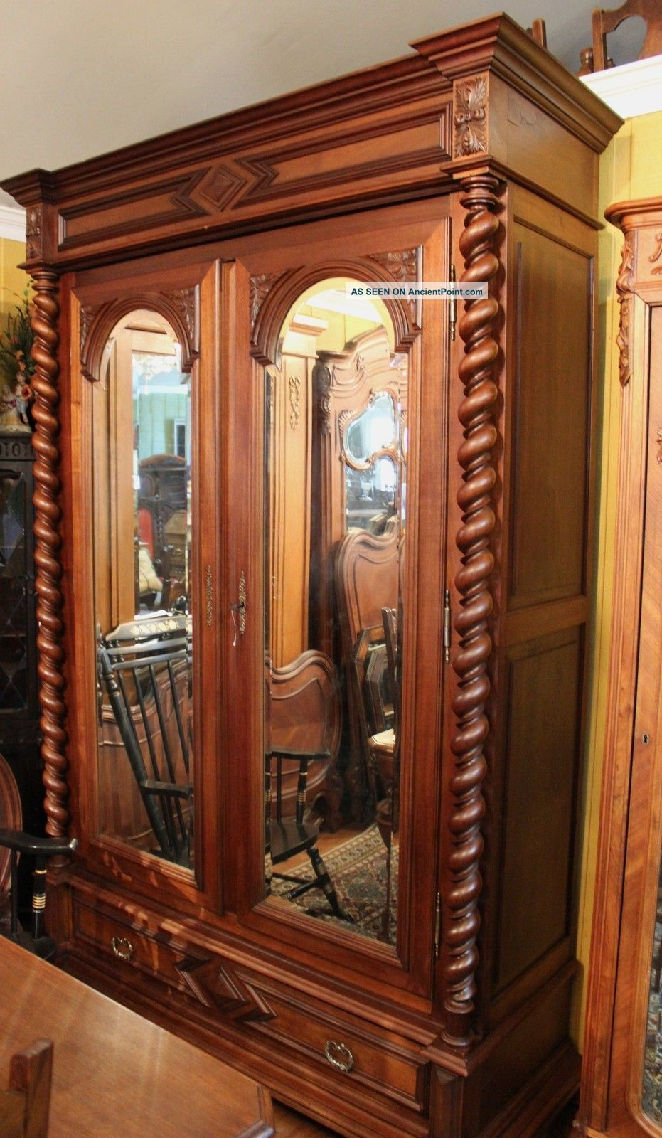 Magnificent Henry Ii French Antique Barley Twist Walnut Armoire 1800 1899  Photo
