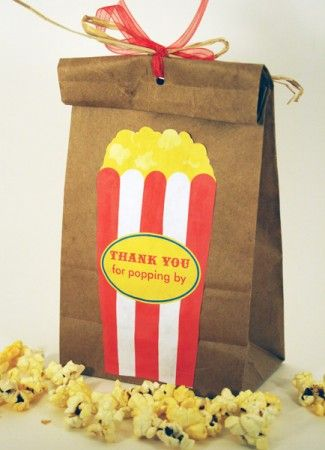 open house activity - kids color the bag and fill with popcorn