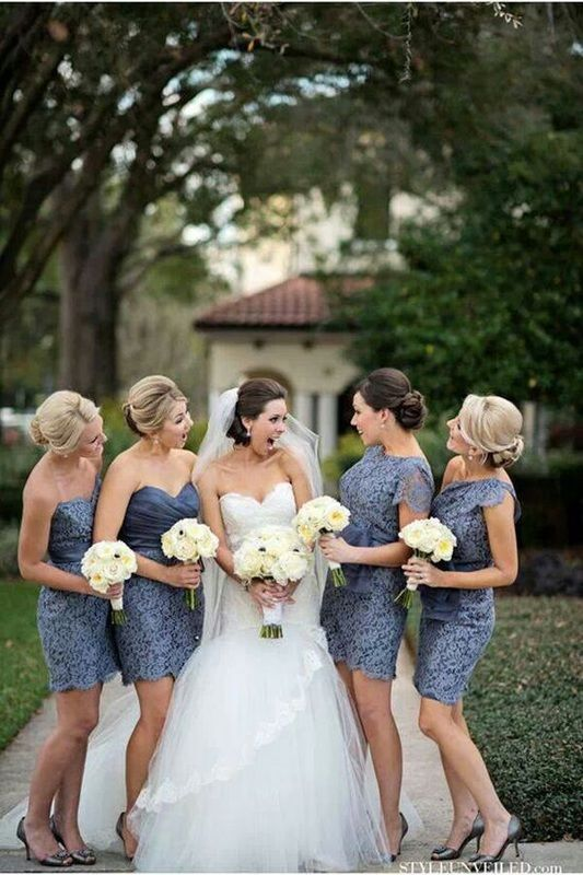 18327ca156b3 bride laughing with bridesmaids in short lace dusty blue dresses