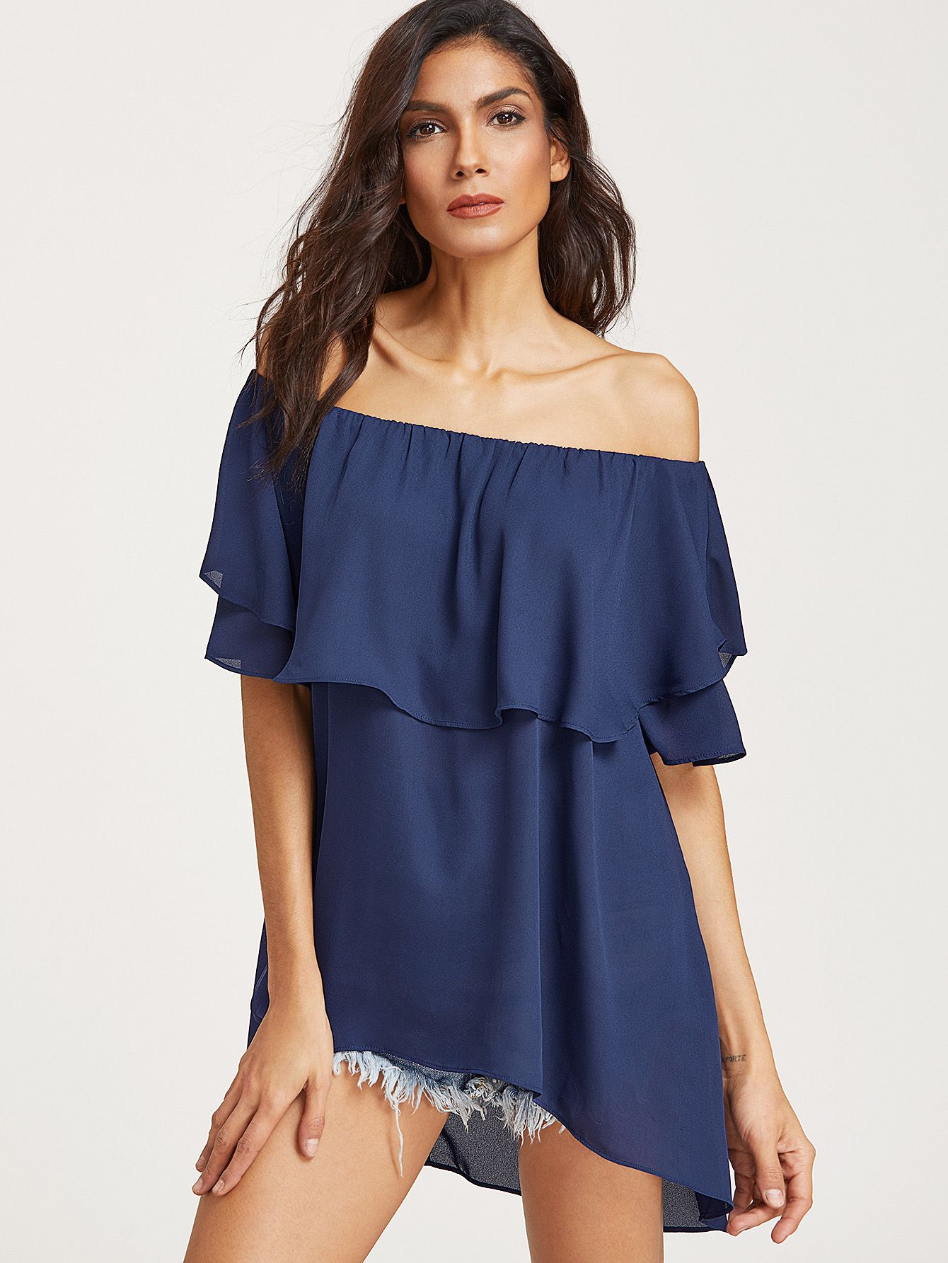 8e05c004d814 Shop Royal Blue Ruffle Off The Shoulder Top online. SheIn offers Royal Blue  Ruffle Off The Shoulder Top & more to fit your fashionable needs.