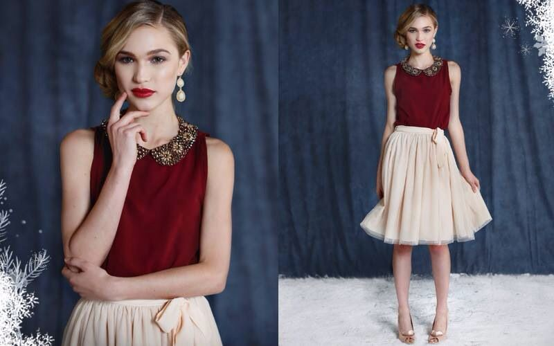 #ruche #holiday red and pearly white outfit