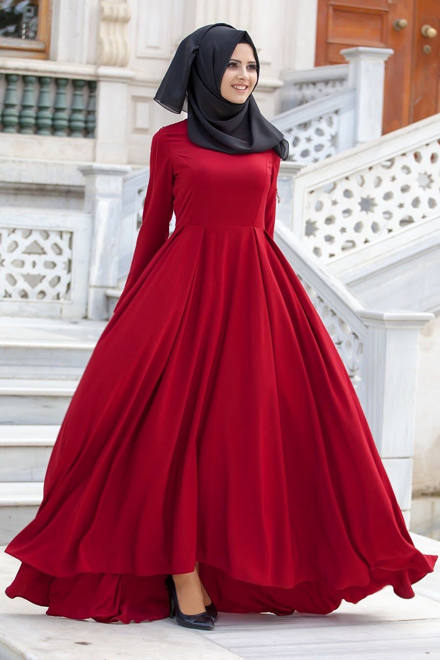Red formal ball gown hijab fashion pinterest ball gowns