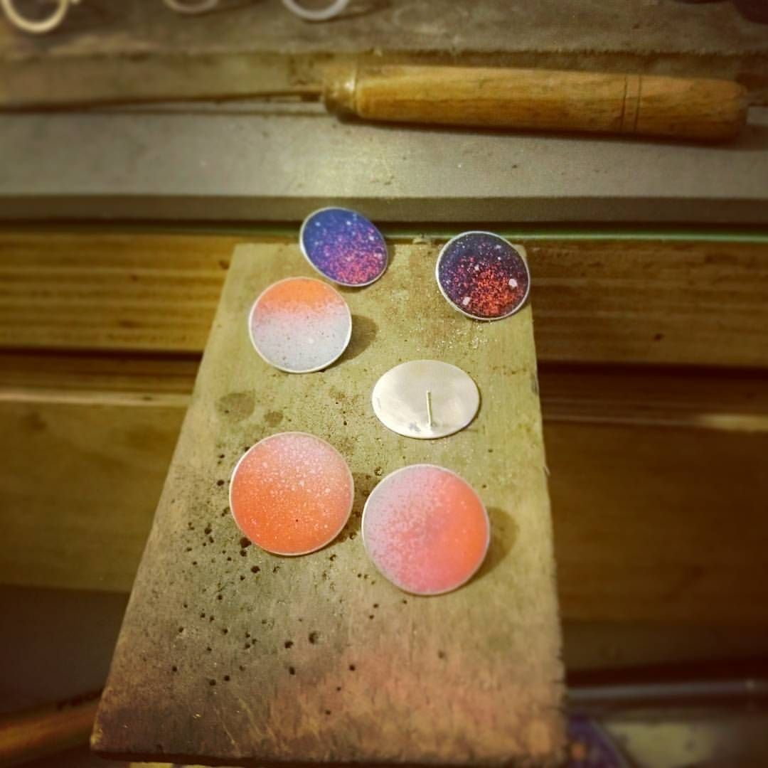#new #spray #spray_painted #earrings #posts #bench #jewelry #circles