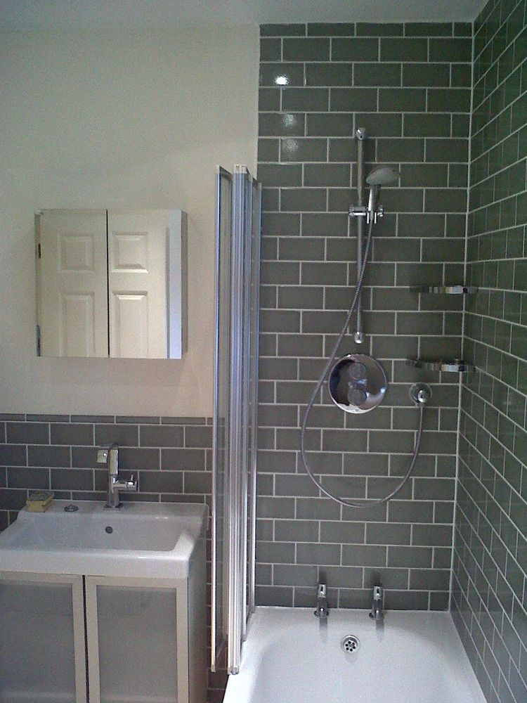 Shower With Grey Brick Tile Effect Make Your Home Design