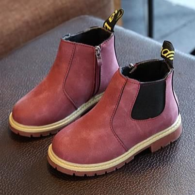 Enfants garçons filles Rétro Bottes Haute Cheville Chaussures de Neige hiver chaude Noir 33 BNAXA