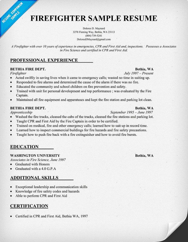 #Firefighter Resume Sample (resumecompanion.com)  Firefighter Resume
