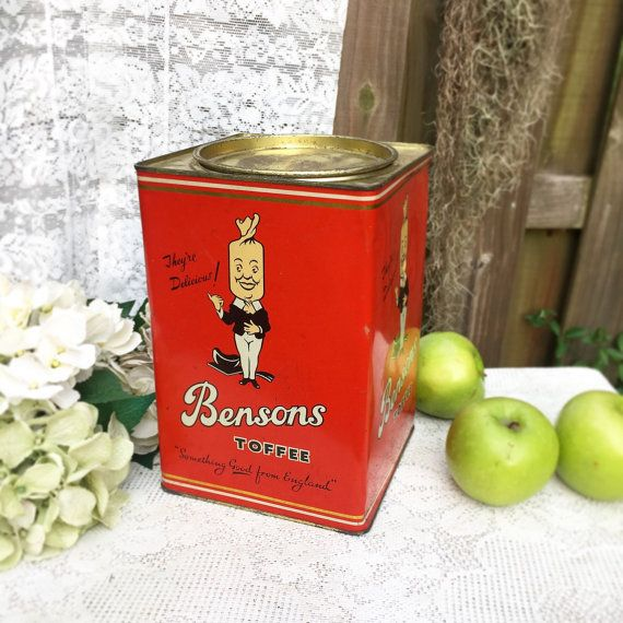 Rare Large Benson 39 S Toffee Tin Litho Box England Red Canister