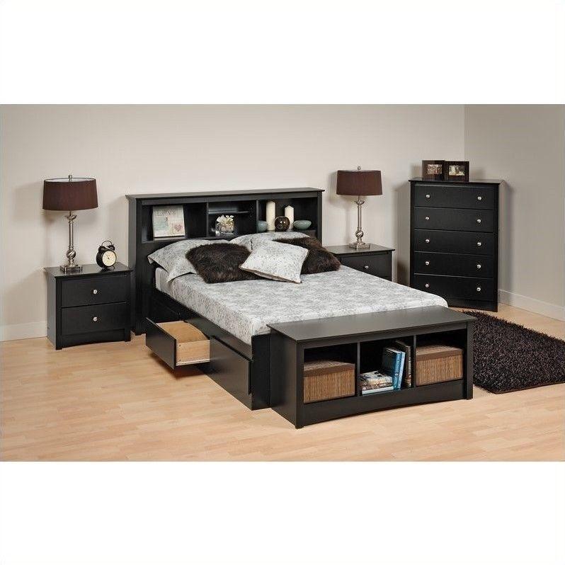 Details about Sonoma Platform Storage 4 Piece Bedroom Set Black