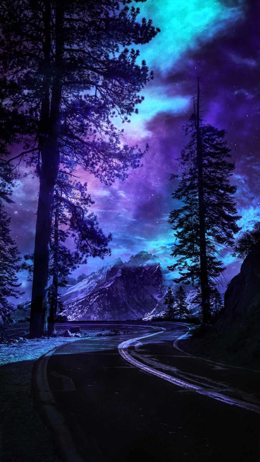 Yosemite National Park Road Night Sky - IPhone Wallpapers