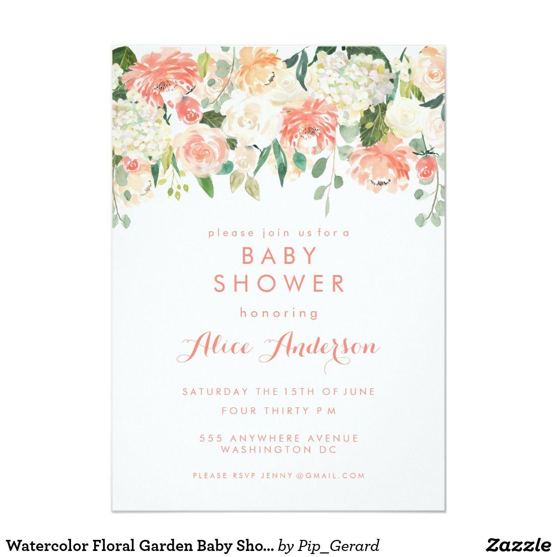 Watercolor Floral Garden Baby Shower Invite | Garden baby showers ...