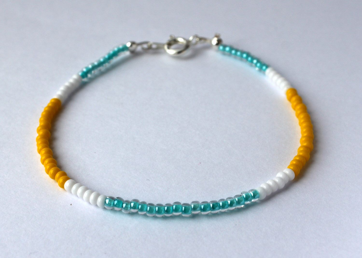 Seed Bead Bracelet-Turquoise-White-Yellow | a color story ...