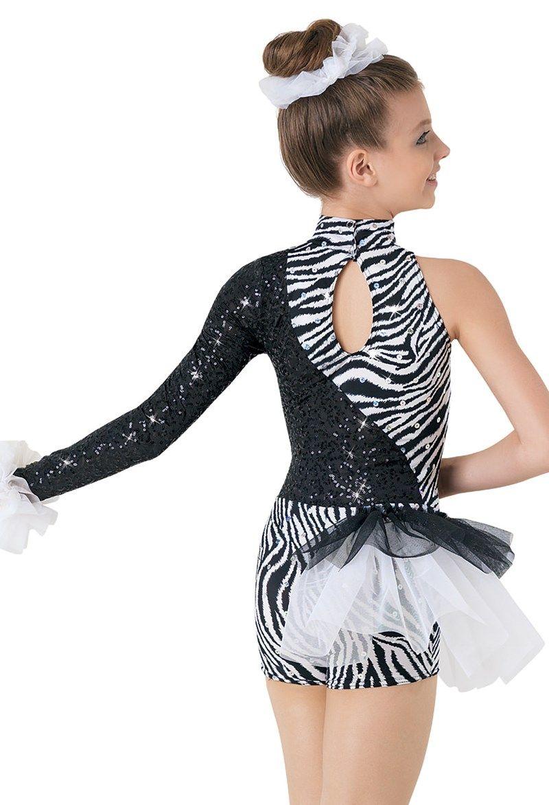 2586b8d15d39a Weissman™ | Zebra Print Asymmetrical Biketard | Dance Costumes in ...