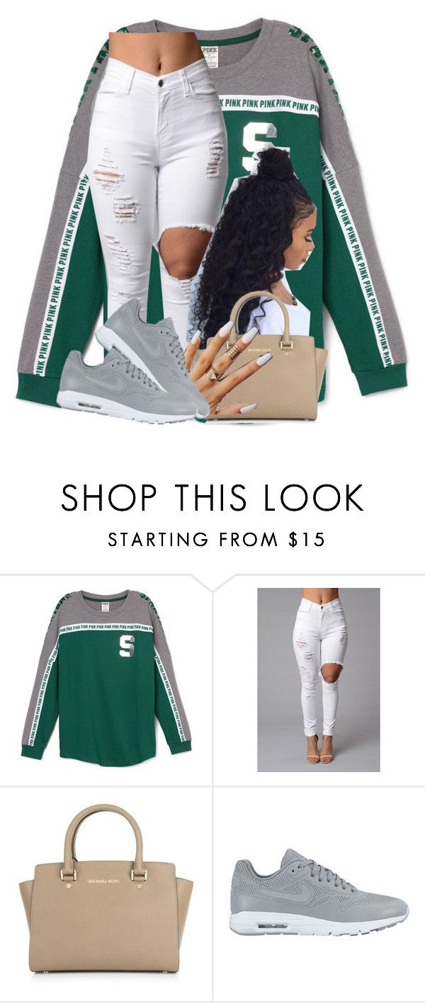"""""""My pooh bear"""" by deasia-still-thugin-honey ❤ liked on Polyvore featuring beauty, Michael Kors and NIKE"""
