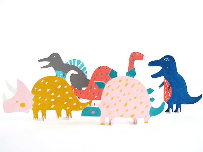 Printable Dinosaur Cut-Out Toys #dinosaurillustration