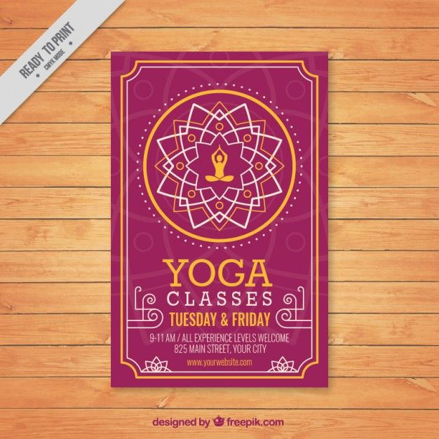Cute Floral Ornament Yoga Flyer Free Vector  Graphic Design