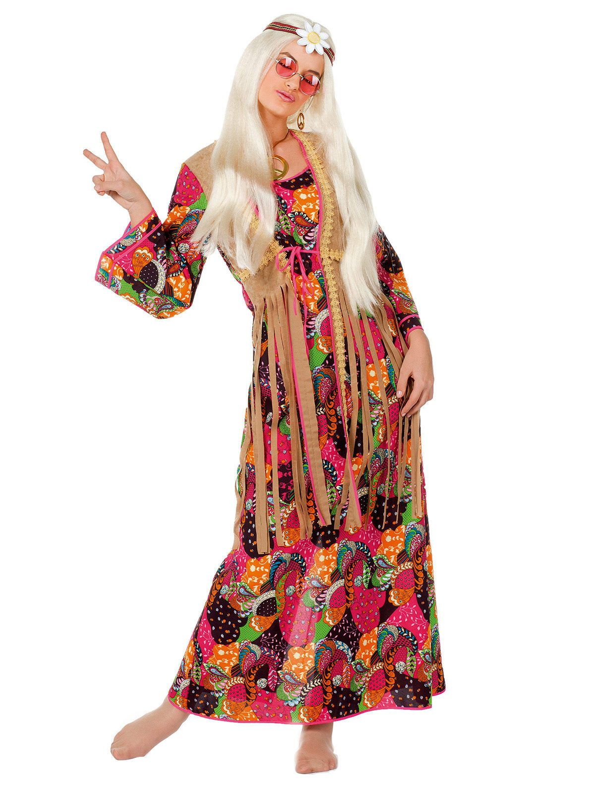 hippie damenkostüm 60er-jahre bunt , günstige faschings