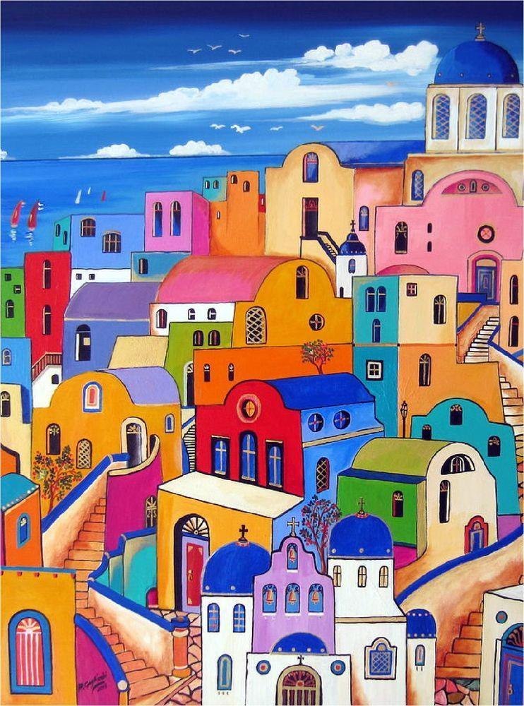 Santorini Island Greece Aegean Sea Vintage European Travel