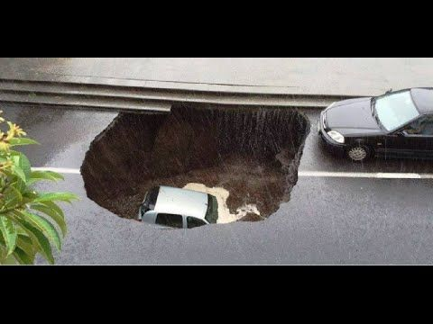 Flash Floods & SINKHOLE Catania, Valverde Italy