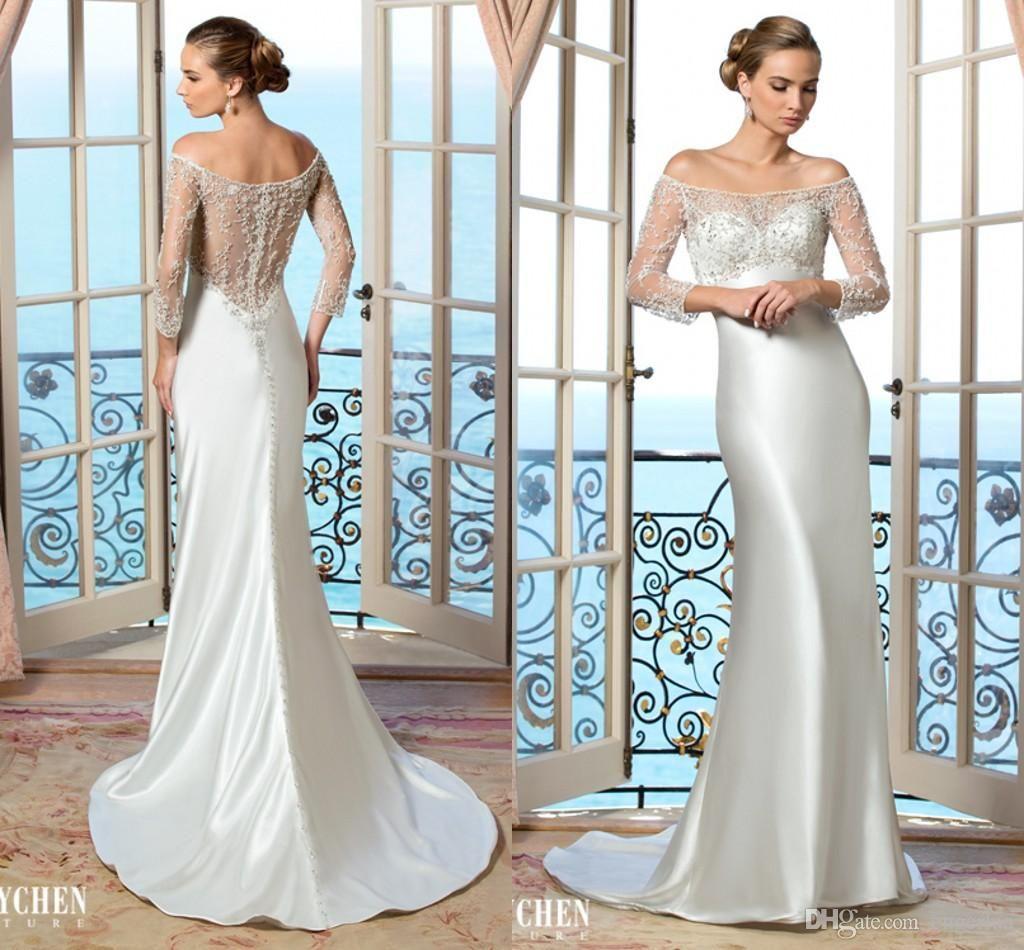 Silver Satin Sheath Wedding Dresses Beaded Sheer Long Sleeves And ...