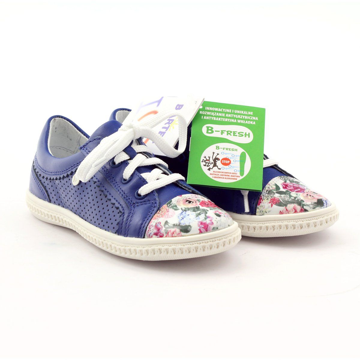 Girls Low Shoes Flowers Bartek 15524 White Violet Blue Pink Green Childrens Shoes Kid Shoes Girls Shoes